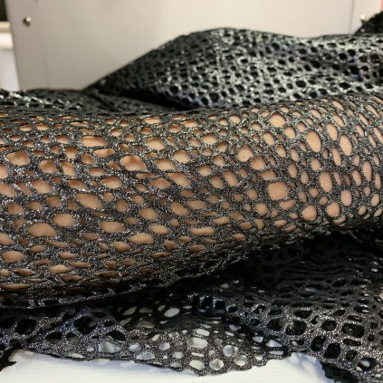 luxusní síť hrubá elastická černá