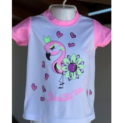 dětské funkční tričko Slovácké léto plameňák růžová