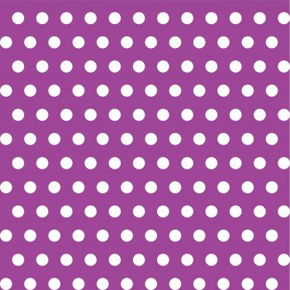 748032 PUNTÍK 1cm bílý na fialové