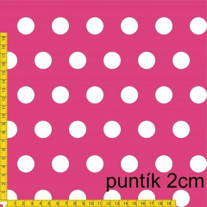 748060 PUNTÍK 2cm bílý na růžové