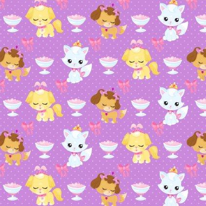 kočička a pejsek sweet 765051 (vyberte materiál zimní softshell elastický (šíře 150cm) 280g  10000/10000)