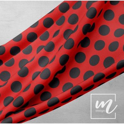748251 puntík 6cm černý na červené
