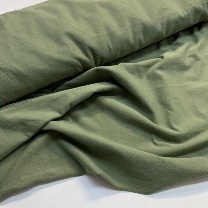 bavlněný úplet s elastanem 200g - khaki