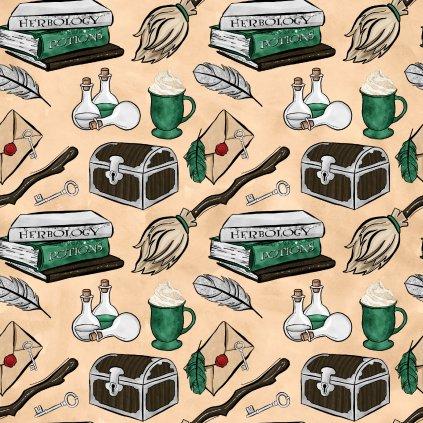 škola čar a kouzel zelená na béžové 723028 (vyberte materiál zimní softshell elastický (šíře 150cm) 280g  10000/10000)
