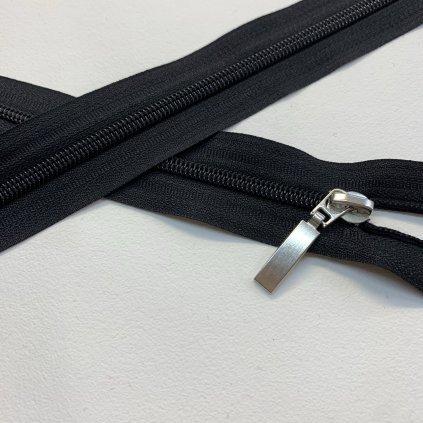 zip spirálový No5 černý s ozdobným stříbrným jezdcem (1)
