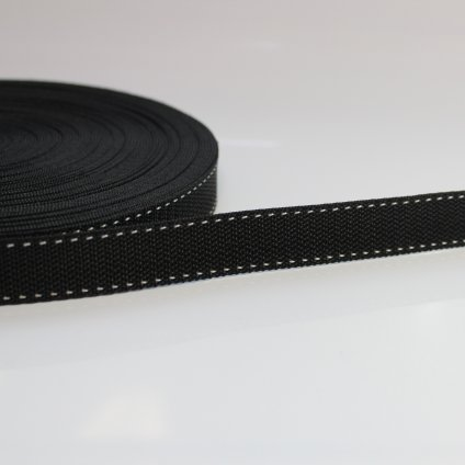 popruh 20mm - černá - bílý štep po krajích
