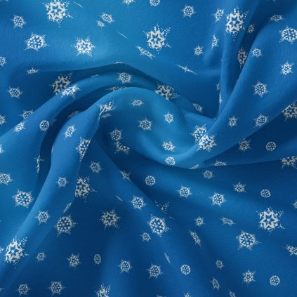 820011 RA v zimě na bruslích hvězdičky na tmavě modré látka
