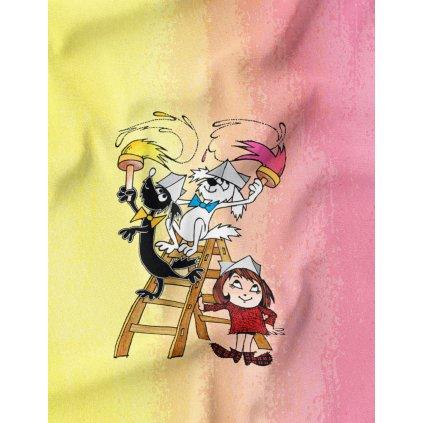 830041 Malá čarodějka, Štaflik a Špagetka malují panel látka