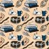škola čar a kouzel modrá na béžové 723040 (vyberte materiál zimní softshell elastický (šíře 150cm) 280g  10000/10000)
