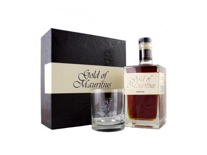 gold of mauritius dark rum box se sklenkou 07 l