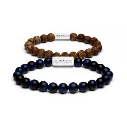 JASP (hnědý) BRIX (modrý) náramky pro páry MIDORINI - 8 mm