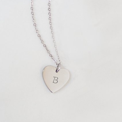 srdce stříbro iniciála