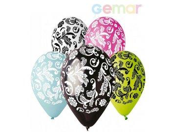 GEMAR Balónek nafukovací 30cm Pastelový potisk DAMAŠEK různé barvy 1ks
