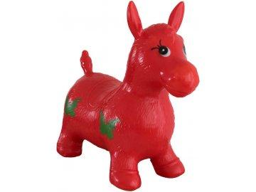Hopsadlo dětské kůň skákací gumový červený 49x43x28cm v sáčku