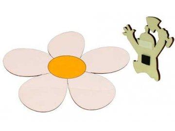 DoDo Dřevěná dekorační magnetka magnetka kopretina