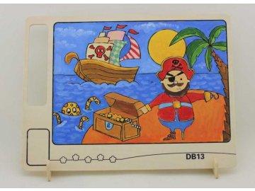 RoboTime Dřevěná oboustranná omalovánka pirát