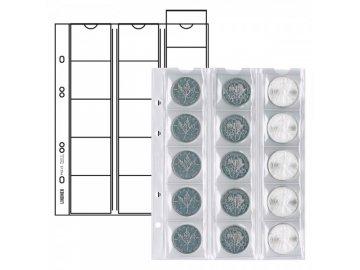 Listy na mince - pro 15 mincí o průměru 42mm (Barva prokládacího listu Červená)