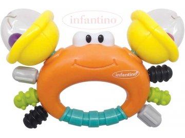 INFANTINO Baby chrastítko a kousátko krab plast pro miminko
