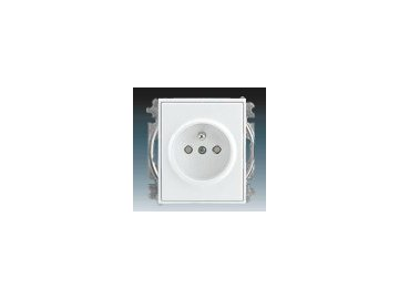 Zásuvka jednonásobná s clonkami - bílá/ledová bílá 5519E-A02357 01