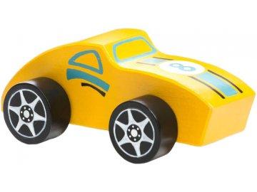 CUBIKA DŘEVO Baby autíčko 12cm žlutá závodnička *DŘEVĚNÉ HRAČKY*