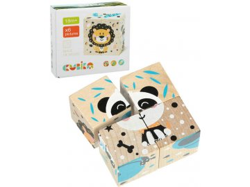 CUBIKA DŘEVO Baby kostky obrázkové Veselá zvířátka kubus set 4ks