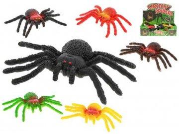 Pavouk strečový pružný 14cm plastové zvířátko 6 druhů