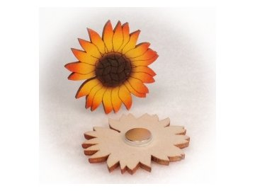 Dřevěné magnetky - Slunečnice květ 4cm
