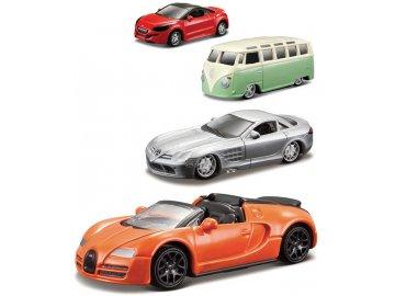 BBURAGO Auto kovové 8cm model 1:64 různé druhy na kartě