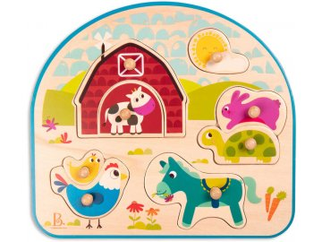 B-TOYS DŘEVO Baby puzzle farma vkládací na desce 8 dílků *DŘEVĚNÉ HRAČKY*