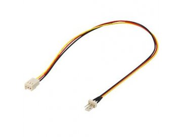 Kabel Akasa PremiumCord k ventilátoru 3pin samec - 3pin samice 0,3m, prodlužovací