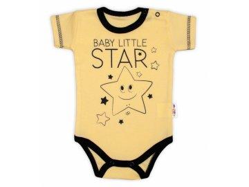 Body krátký rukáv Baby Nellys, Baby Little Star - žluté