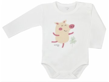 Koala Baby body s dlouhým rukávem Farma - Prasátko, béžové