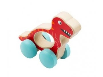 Small Foot Dřevěná hračka do ručičky Dinosaurus - červený