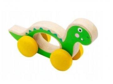 Small Foot Dřevěná hračka do ručičky Dinosaurus - zelený