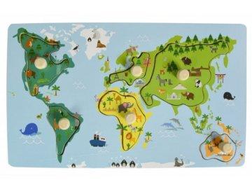 Adam Toys Edukační vkládačka s úchyty - Mapa Světa