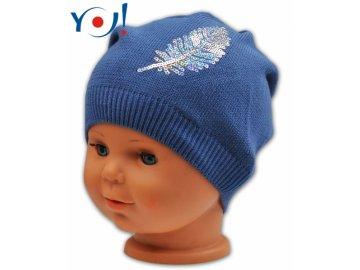 Bavlněná čepička YO ! Pírko - tm. modrá