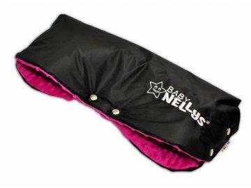 Rukávník ke kočárku Baby Nellys ® minky - amarantový/černý