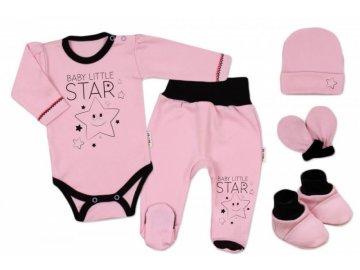 Baby Nellys 5-ti dílná soupravička do porodnice Baby Little Star - růžová