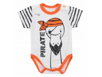 Koala Baby body s krátkým rukávem Pirát - oranžová/bílá