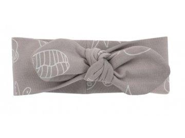 Pinokio Čelenka s mašličkou Slow Life, lila s potiskem, 9-12 měsíců