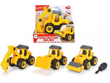 DICKIE Autíčko žluté stavební šroubovací set s nástrojem 4 druhy plast