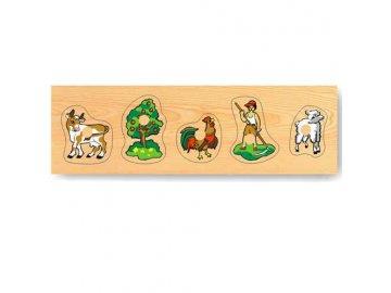 Dřevěné vkládací puzzle zvířata domácí