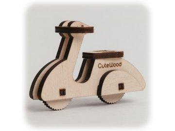 CuteWood Dřevěné 3D puzzle Moped