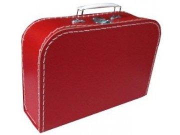 KAZETO Kufr dětský červený 30x21x10cm šitý lepenkový