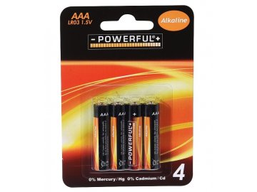 Baterie AAA mikrotužkové alkalické 4 ks