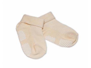 Kojenecké ponožky, 0-12 m, Risocks protiskluzové - béžové