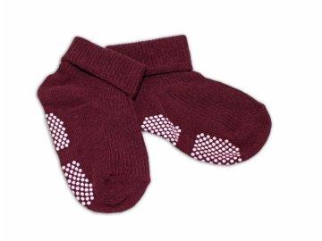 Kojenecké ponožky, 0-12 m, Risocks protiskluzové - bordo