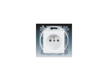 Zásuvka jednonásobná s clonkami - bílá/ledová bílá 5519H-A02357 01