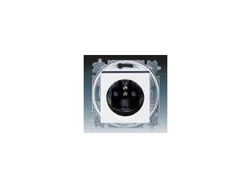 Zásuvka jednonásobná s clonkami - bílá/kouřová černá 5519H-A02357 62