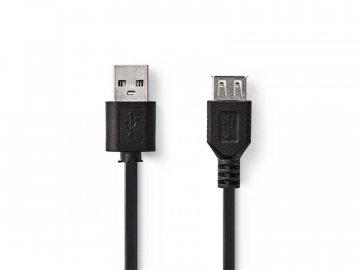 Kabel 1x USB 2.0 A konektor - 1x USB 2.0 A zdířka 0.2m NEDIS